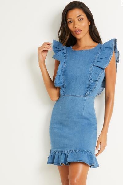 Blue Chambray Frill Mini Dress